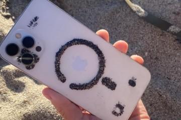 有趣发现黑色金属砂被iPhone吸住并排出图案