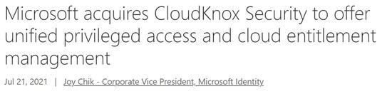 一年四桩并购微软拿下初创公司CloudKnox加强网安实力
